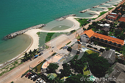 Erosion of Rayong province, the Gulf of Thailand.