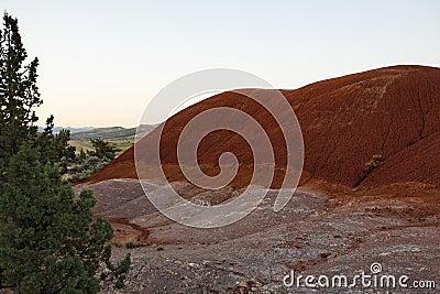 Erosion of red soils in a high desert landscape