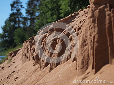 Erosion of sand closeup