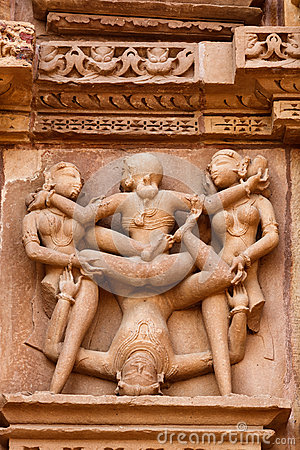 Erotic sculptures, Khajuraho, India