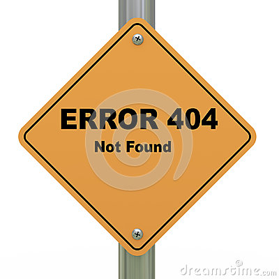 Error 404 not found road sign