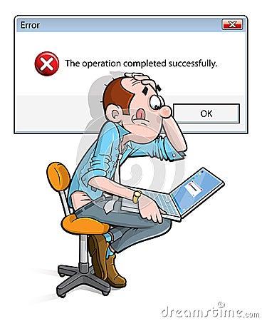 Error on laptop cartoon