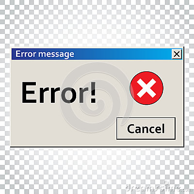 Free Error Warning Message. User Interface Window. Virus Alert Illust Royalty Free Stock Photos - 96936658