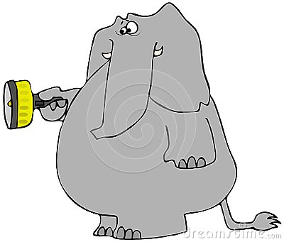 Erschrockener Elefant mit einer Taschenlampe