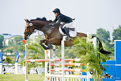 Erstes Cup Equestrian Show Jumping Redaktionelles Stockfotografie