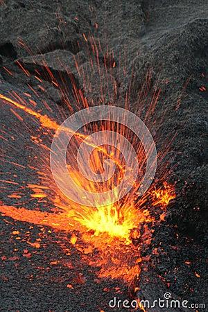 Eruptin in the lava lake