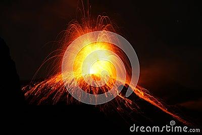 Erupting volcano with Strombolian type eruption