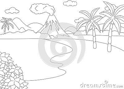Eruzione vulcanica libro da colorare per i bambini - Toddler libro da colorare ...