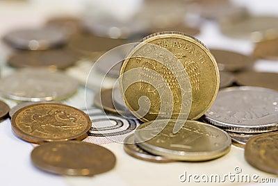 Einige Rubelmünzen