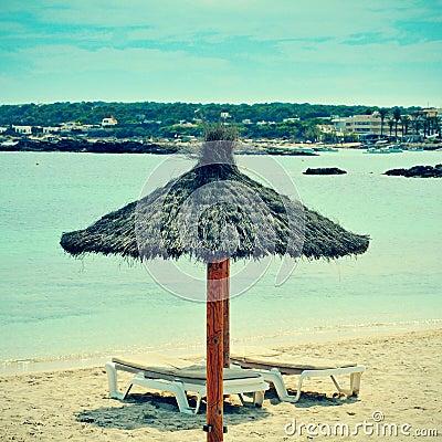 Es Pujols Beach in Formentera, Balearic Islands, Spain