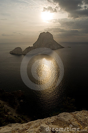 Es Vedra island in front of the setting sun