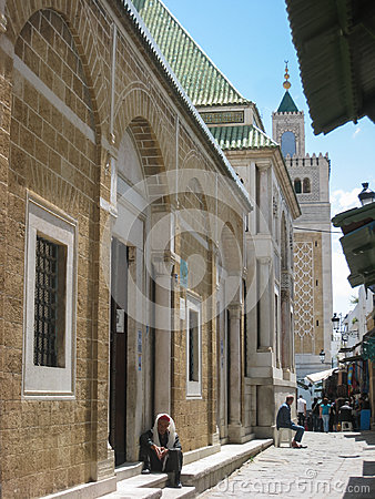 Es Zitouna Mosque street viewed from Sidi Youssef mosque. Tunis. Tunisia Editorial Photography