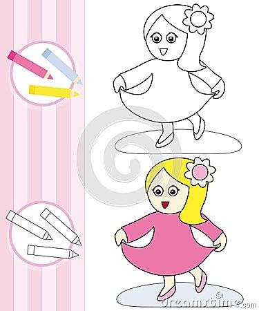 Esboço do livro de coloração: menina de dança