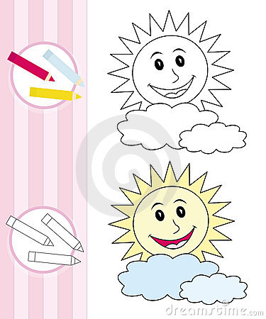 Esboço do livro de coloração: sol feliz