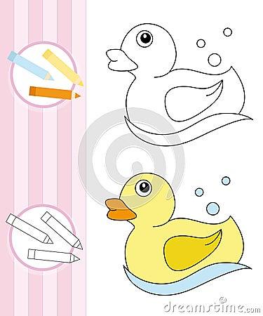 Esboço do livro de coloração: pato de borracha