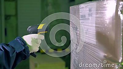 Escáner de código de barras Escáner de código de barras del uso del trabajador para comprobar mercancías en un almacén 4K almacen de video