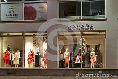 Escada store in Karlovy Vary at night Editorial Image