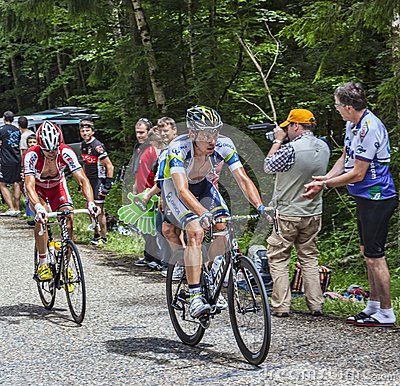 Escalada dos ciclistas Foto Editorial