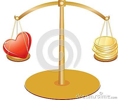 Escalas do ouro com coração e dinheiro
