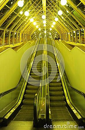 The escalator on Bogdan Khmelnytsky Bridge (The Kiev foot bridge) at night