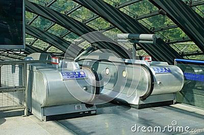Escalator Canary Wharf station Editorial Stock Image