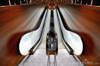 Escalator does not work in hall Stock Photo