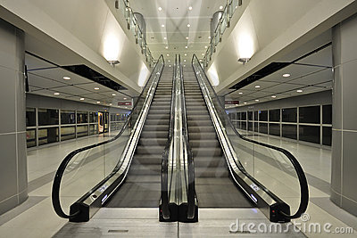 The escalator moving