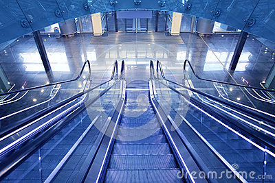 Escalator in new airport terminal