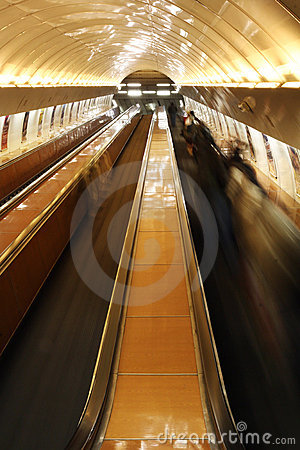 Escalator with people