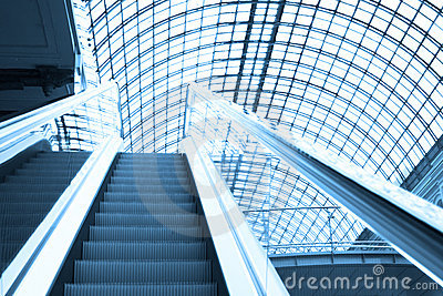 Escalator in shopping center, Moscow