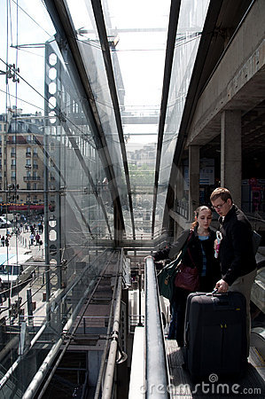 Escalator View from Inside Gare de l Est, Paris Editorial Photo