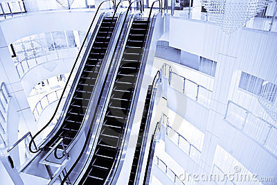Escalators in mall