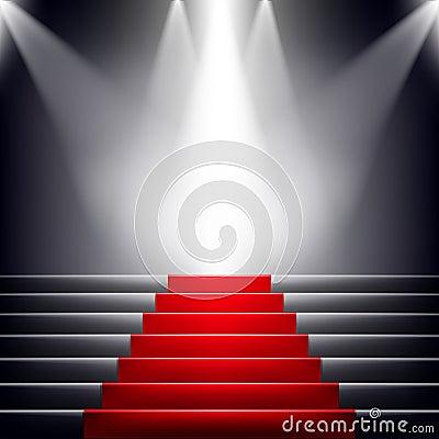 Escaleras cubiertas con la alfombra roja imagen de for Escaleras con alfombra
