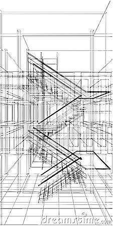 Escalier abstrait de construction de la ligne vecteur images stock image 1 - Construction des escaliers ...