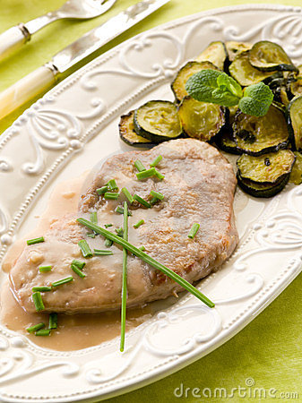 Escalope with white wine sauce