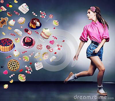 Escape. Running woman refuses to eating tasty cake