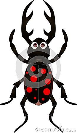 Escarabajo de la historieta en el fondo blanco