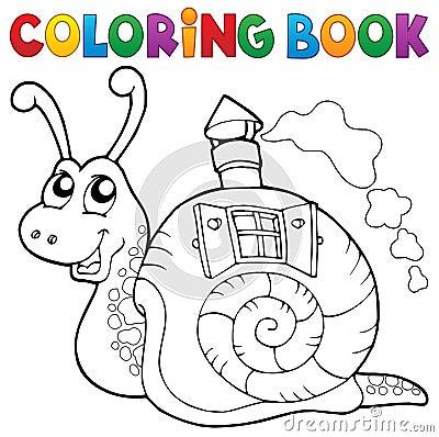 Escargot de livre de coloriage avec la maison de coquille illustration de vecteur image 74321782 - La maison des escargots ...