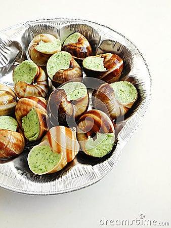 Escargots prepared for baking