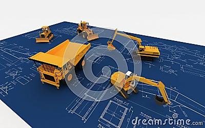 Escavatore e deposito gialli sull abbozzo