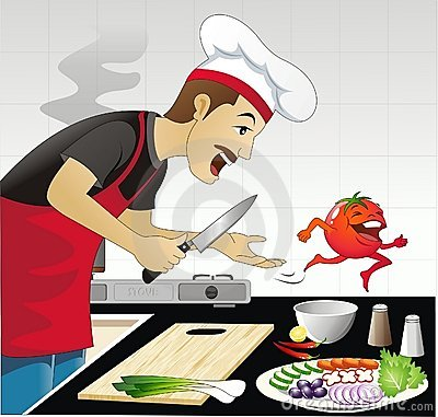 Escena divertida de la cocina