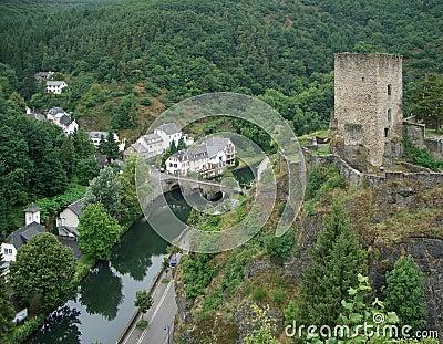 Esch sur Sûre with castle ruin