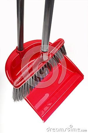 Escoba plástica con el recogedor de polvo
