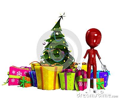 Esconda la figura con el árbol de navidad