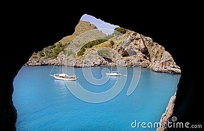 Escorca Sa Calobra view from a cave in Mallorca
