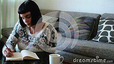 Escrita da mulher em um diário na sala de visitas 4k video estoque