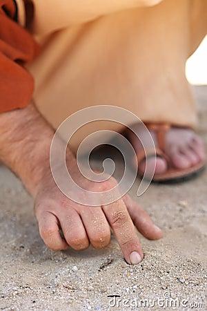 Escrita de Jesus com seu dedo