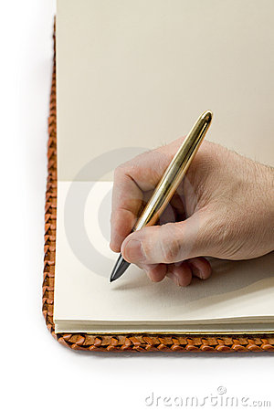 Escrita no livro velho em branco