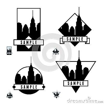 Escritura de la etiqueta con los rascacielos