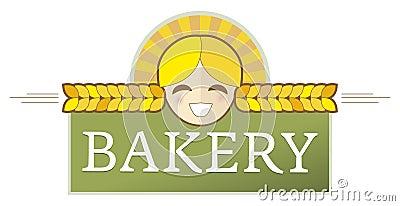 Escritura de la etiqueta de la panadería con la muchacha